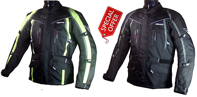 8080 Fluorescent High Visibility Textile Waterproof Motorcycle Jacket Black