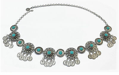Boho Tribal Bohemian Gypsy Belly Greek Chain Turquoise Metal Belt Hippy Turkish