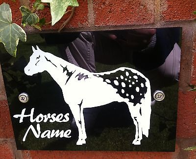 Horse Stable Pony name Plaque Plate Sign, White on Black Acrylic, H1 op f