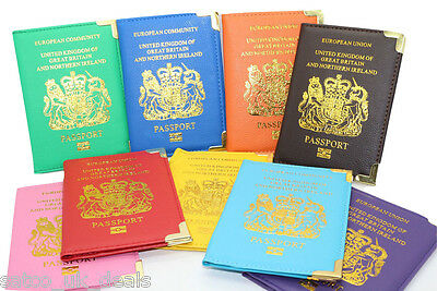 UK And European Passport holders Cover Protector PU Leather Wallet Holder Safe