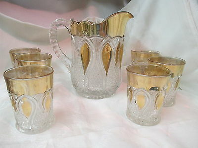 Antique US Glass EAPG Pitcher 6 Tumblers gold & clear New Jersey  Loops & drops