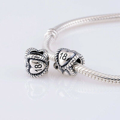 EIGHTEEN, 18  HEARTS CELEBRATION .925 Sterling Silver European Charm Bead