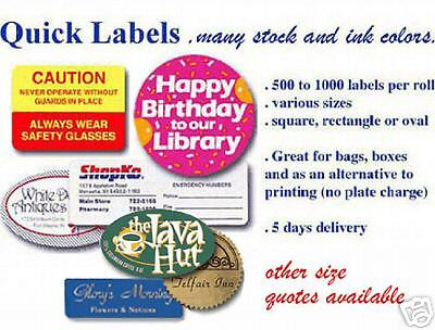 500 Printed RECTANGLE or OVAL Quick Labels