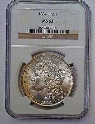 {BJStamps}  1884 O Morgan Silver Dollar NGC MS63  REVERSE Toning
