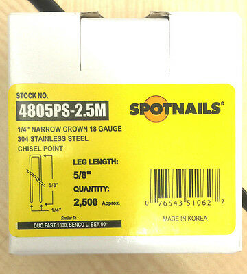 Spot Nails Spot Nails 4805PS 18 Gauge304Stainless Steel Staples with 1/4-inch