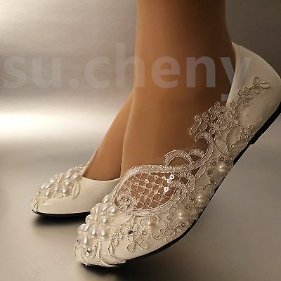 df0c24b1f9ff su.cheny Lace white ivory pearls flats low high heel pumps Wedding Bridal  shoes