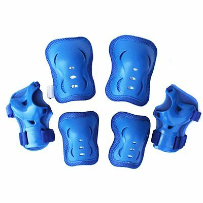 Kid's Roller Blading Wrist Elbow Knee Pads Blades Guard 6 PCS Set in BlUE