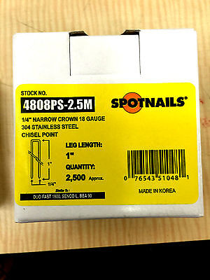 Spotnail 4808PS 1/4-Inch Narrow Crown 1-Inch 18-Gauge Leg Stainless Steel Staple