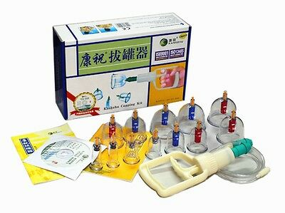 Brand New Kangzhu 12 Cups Biomagnetic Chinese Cupping Therapy Set Free Shipping!