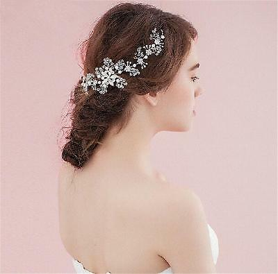 Wedding Bridal Crystal Flower Pearl Hair Accessories Headband Jewelry Tiara Band