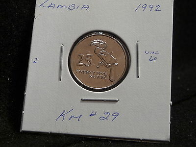 Zambia:   1992     25 Ngwee    Coin     (Unc.)    (#1356)  Km # 29