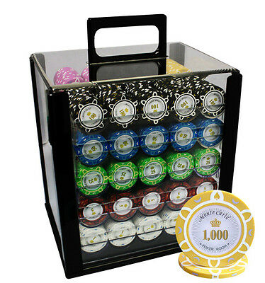 1000 14g POKER CHIPS SET MONTE CARLO POKER ROOM ACRYLIC CASE