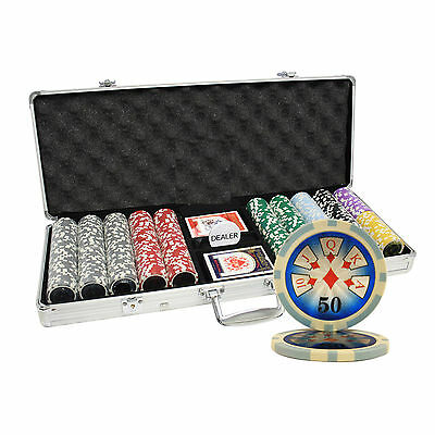 500ct 14G HIGH ROLLER CASINO TABLE CLAY POKER CHIPS SET CUSTOM BUILD