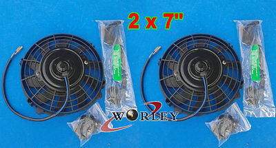 "2 x 7"" 7 Inch 12V Reversible ELECTRIC Thermo COOLING FAN + MOUNTING KITS"