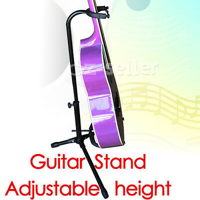 2XFolding Electric Acoustic Bass Tripod Guitar Stand GIG Floor Rack Holder Black