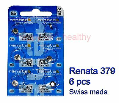Renata SR521SW 379 Silver Oxide button Battery x 6 pcs Swiss Made FREE Post