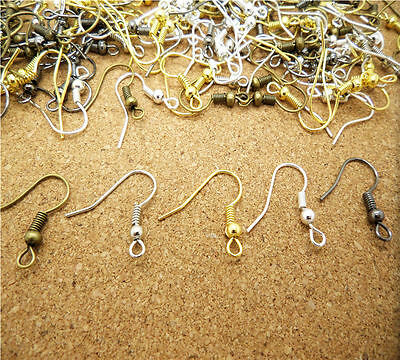 100Pcs Earring Hook Coil Ear Wire Jewelry Making Finding Craft 18mm DIY 4 Color