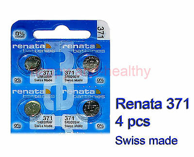 Renata SR920SW 371 Silver Oxide button Battery x 4 pcs Swiss Made FREE Post