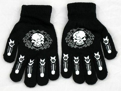 Glow In the Dark Skull Magic Stretchy Winter Gloves One Size Fits Most #1