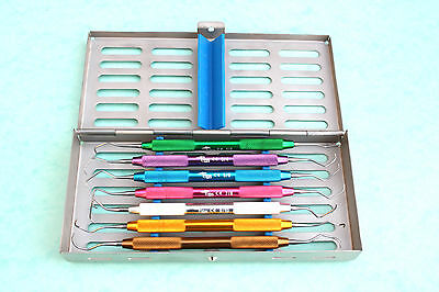 Gracey Set of 7 pcs with Sterilizing Rack Dental Instruments CE.