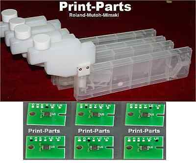 6 x Permanent Chip 6 x Refillable Cartridge ROLAND-MUTOH-MIMAKI Solvent Printers