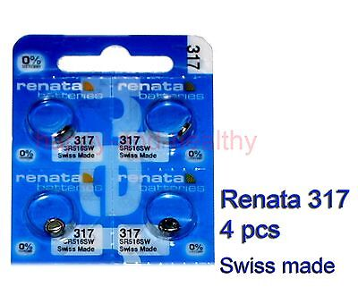 Renata SR516SW 317 Silver Oxide button Battery x 4 pcs Swiss Made FREE Post