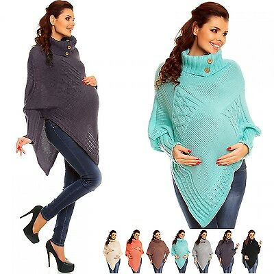 Zeta Ville Maternity Women's Chunky Cable Knit Sweater Poncho Rolled Neck - 312c