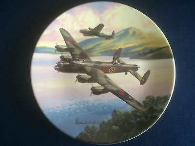 """Royal Worcester The Dambusters """"Prelude Low Over The Lake """" plate (tiny scratch)"""
