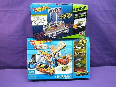 Hot Wheels Car Crusher set and 5 cars W/ Workshop Digital Speedometer
