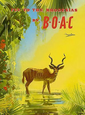 Fly to Rhodesia Zimbabwe Africa African Vintage Travel Art Poster Advertisement