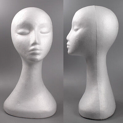 White Swan Neck Polystyrene Female Mannequin Head Retail Display Wig Hat 50cm