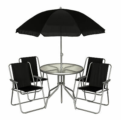 Black 6Pc Garden Furniture Outdoor Patio Set W/ 4 Chairs, Table + Parasol Bbq
