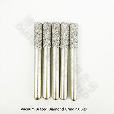 5pcs Diameter 6mm cylinder flat end diamond burrs shank 6mm Rotary tool Carving