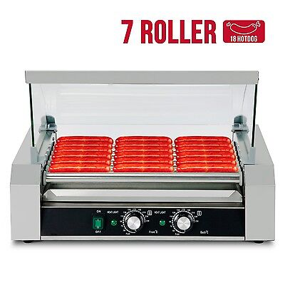 18 Hotdog Roller Commercial Hot Dog 7 Roller Grill Cooker Machine w/Cover