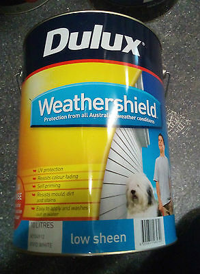 10Lt Dulux Weathershield Low Sheen  EXTERIOR PAINT VIVID WHITE CAN FREIGHT