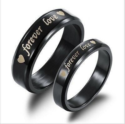 Free Engraving Black Forever Love Stainless Steel Couple Ring Set Promise rings