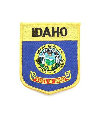 Idaho Usa State Shield Flag Embroidered Iron-On Patch Crest Badge .. New
