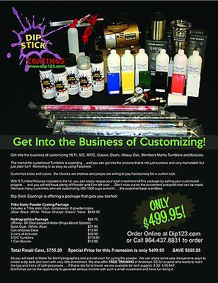 Tribo static powder coating and hydrographics kit for yeti sic includes cups