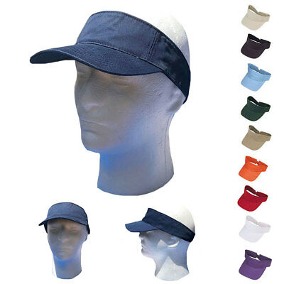 1 Dozen Blank Plain Washed Twill Cotton  Visor Golf Tennis Sun Wholesale Bulk