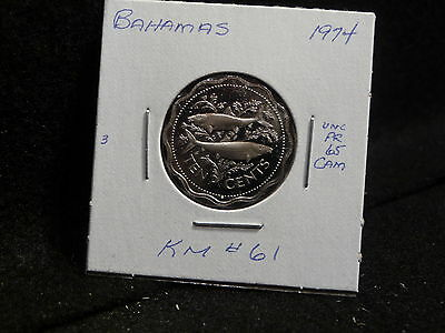 Bahama Islands:   1974   10 Cents   Coin  Proof Cameo  (Unc.)    (#128)  Km # 61