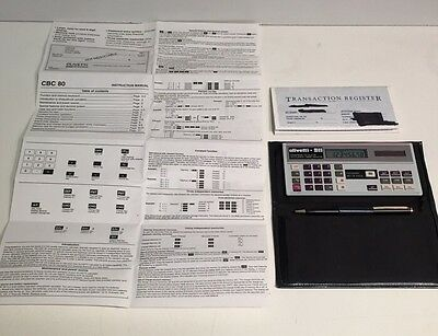 Vintage Olivetti CBC 80 Chequebook Calculator with Case & Instruction Manual