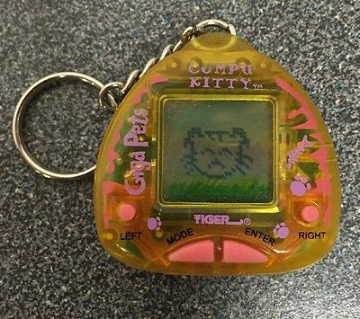 Vintage 1997 Giga Pets Compu Kitty Yellow Edition Tiger Cat Electronic Toy
