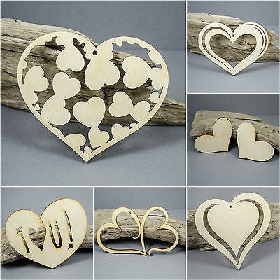 LARGE Heart Hearts Love  Embellishment MDF Birch Plywood Laser Cut Wooden Shapes