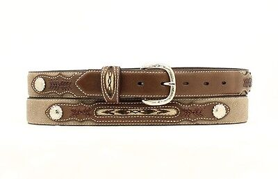 Western Boys Inset And Concho Leather Belt - Brown - 24