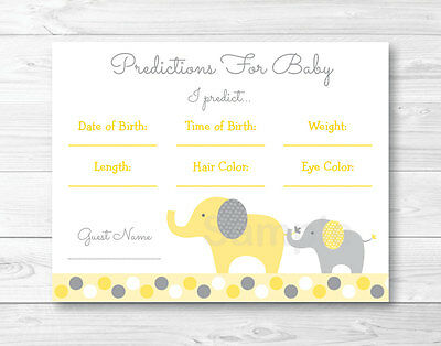 Yellow & Grey Elephant Baby Shower Baby Predictions Game Cards Printable