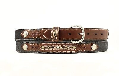 Western Boys Inset And Concho Leather Belt - Black - 28