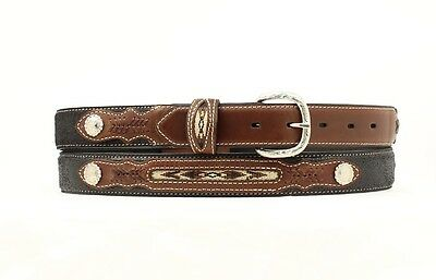 Western Boys Inset And Concho Leather Belt - Black - 26