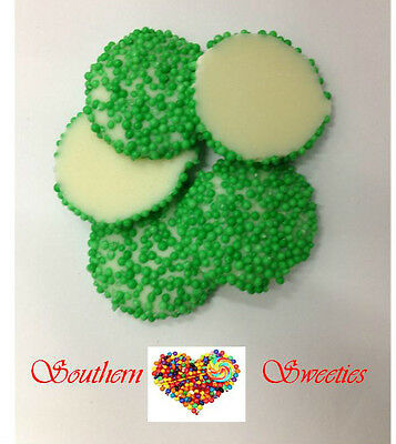 Green Speckles On White Chocolate 1Kg Freckles Lollies Choc Candy Jewels
