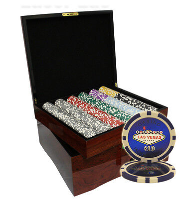 750 Las Vegas Casino Poker Chips Set High Gloss Wood Case Custom Build