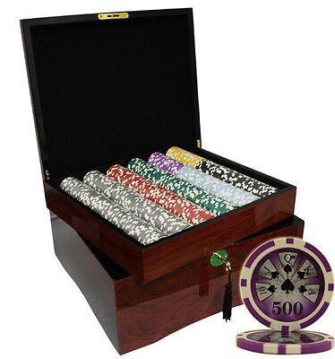 750 High Roller Casino Poker Chips Set High Gloss Wood Case Custom Build
